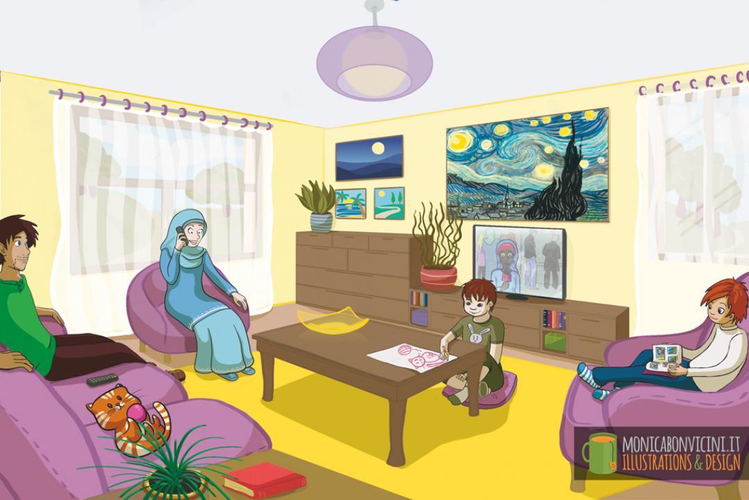 English Activity Book - grade 1 - Family living room scene