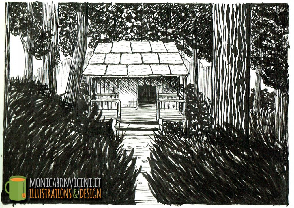 Cabin in the woods - pen and ink